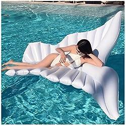 Ala inflable gigante del ángel, piscina blanca inflable gigante de la nube del arco iris, flotador inflable, silla inflable de la piscina del capile, cama inflable inflable del PVC - juguete inflable de la aguamarina (250 * 180 cm, Blanco)