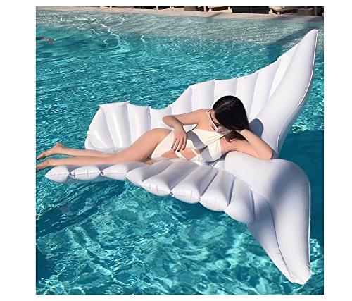 Alas inflables gigantes del ángel, flotadores inflables del ala de la mosca gigante, amortiguadores flotantes de la piscina del agua de la cama de la piscina de Kabeier - juguetes del agua (250 * 180 cm blancos)