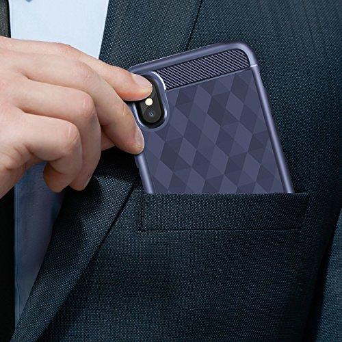 iPhone X Hülle , Leathlux Handyhülle für iPhone X Soft Flex Silikon Premium TPU Air Cushion Technologie Slim Schlanke Schutzhülle für Apple iPhone X Case, iPhone X Cover Dunkelblau Dunkelblau