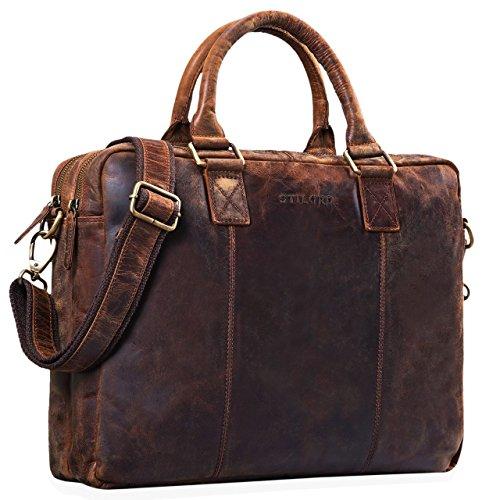 STILORD \'Zacharias\' Vintage Businesstasche Leder Aktentasche groß XL 15,6 Zoll Laptoptasche Schultertasche Umhängetasche aufsteckbar Echtleder, Farbe:Zamora - braun
