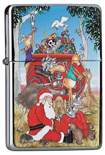 LEotiE SINCE 2004 Chrom Sturm Feuerzeug Benzin Bedruckt Weihnacht Schmuck Nikolaus Geschenke