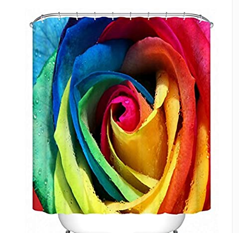 KKLL Polyester 3D Colorful Rose Shower curtain Bathroom Waterproof Partition Semi shade curtain , 200*180cm