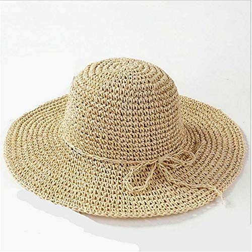 RSHJBHD Frauen Strohhut Sonnenschutzkappe Hut mit breiter Krempe Sonnenhut Falten Sommer Outdoor UV-Sonnenschutz Hut Mode Eltern-Kind-Kappe (Color : Beige, Size : One Size)
