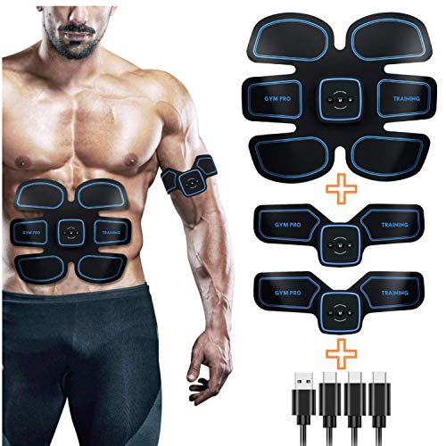 GYMPRO Elettrostimolatore per Addominali, EMS Tonificatore Muscolare Professionale per Addome/Braccia/Gambe/Glutei, 6 modalità e 15 Livelli di Intensità