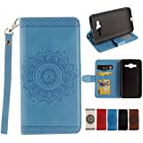 Samsung galaxy J3 2015 / J3 2016 Case, Dfly Vintage British Rural Style Fancy PU Leather with Embossing Flowers Pattern Folio Flip Standing Wallet Case (with Free Headphone Cable ) for Samsung galaxy J3 2015 / J3 2016,Blue