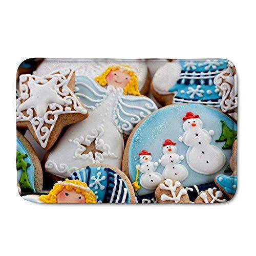 LIS HOME Weihnachten Indoor Fußmatten Cartoon Cookies Lustige rutschfeste Langlebig Waschbar Hause Dekorative Fußmatten Teppiche für Eingang Schlafzimmer Bad Küche Lis-cookie