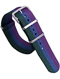 20 mm de alta calidad multicolor estilo único verde / azul / violeta de la NATO resistente nylon banda de reloj de los hombres suave