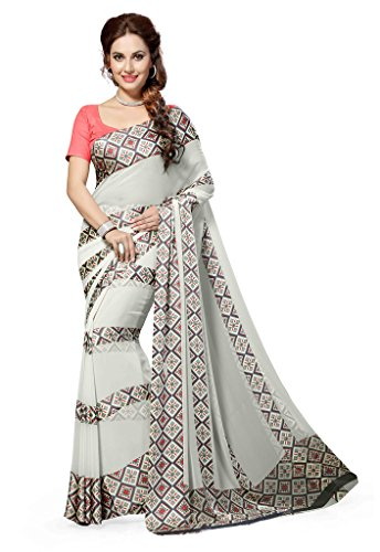 Ishin Faux Georgette Grey Printed Women's Saree.  available at amazon for Rs.299