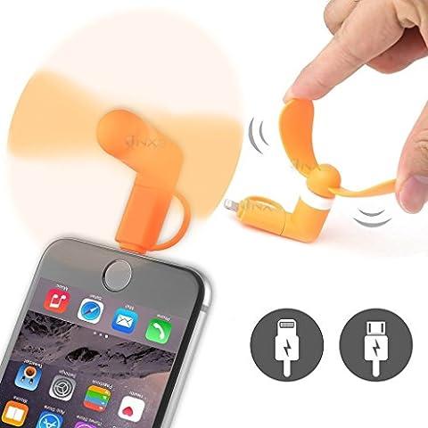 ONX3® (naranja) Samsung Galaxy Amp Universal Mobile Cell Teléfono Enfriamiento Portátil bolsillo Tamaño ventilador Accesorio 2 in 1 Conector Para Android Micro USB Y IOS iPhone