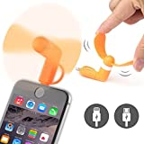ONX3® (naranja) Kyocera DuraMax Universal Mobile Cell Teléfono Enfriamiento Portátil bolsillo Tamaño ventilador Accesorio 2 in 1 Conector Para Android Micro USB Y IOS iPhone