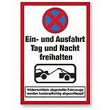 Ein- / Ausfahrt Tag- / Nacht Freihalten Kunststoff Schild (20 x 30cm), Warnhinweis - kostenpflichtig abgeschleppt, Hinweisschild Einfahrt - auch gegenüber, Parken verboten - Parkverbot, Halteverbot