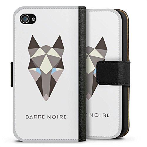 Apple iPhone X Silikon Hülle Case Schutzhülle Fuchs Muster Fox Sideflip Tasche schwarz