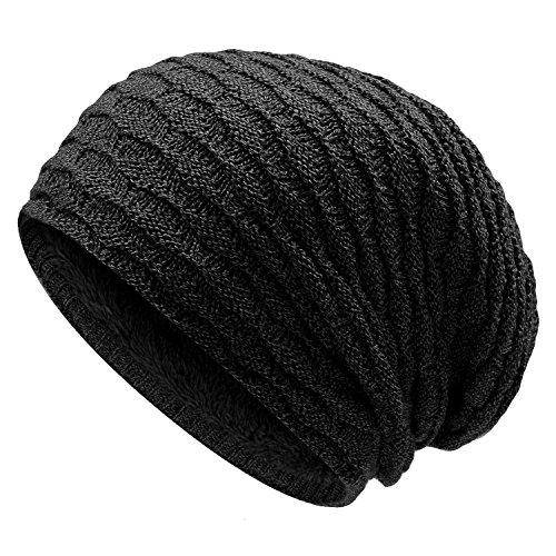 UPhitnis Warm Lässig Beanie Mütze, Long Slouch Wintermütze | Beanie Grobstrick mit Textur-Muster für Damen Herren (Grobstrick-mütze)