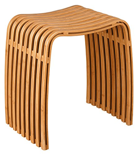 Bambus-Hocker mit Anti-Rutsch Stoppern elegantes Design leicht und belastbar bis 110 kg - ideal als Badhocker