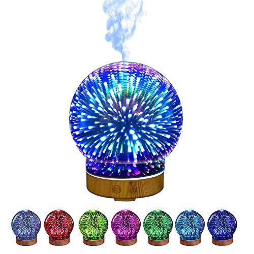 Duftöldiffusoren 100Ml 3D Aroma Diffusor Aromatherapie Ätherisches Öl Diffusor Für Zuhause Luftbefeuchter Ultraschall Luftbefeuchter Mit Nachtlampe, Kreis - Kreis Öl-diffusor