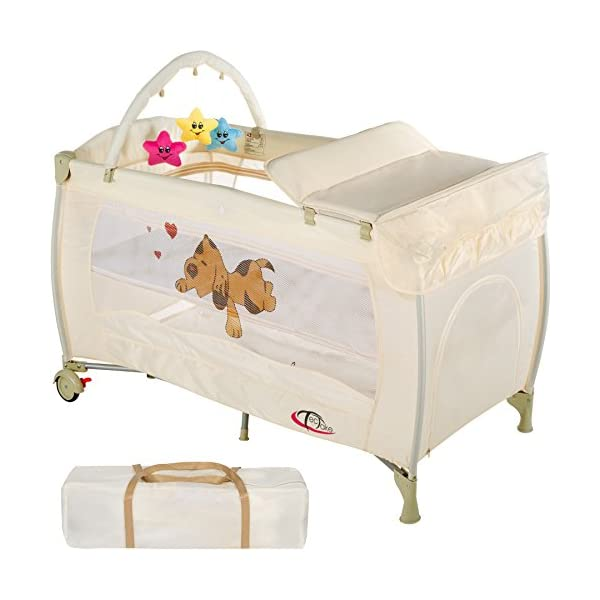 TecTake Baby Travel Cot BEIGE  Suitable for children up to an age of 36 months. Bed Size: 128cm length, 67cm width, 81cm height Changing mat: 68cm length, 51cm width 1