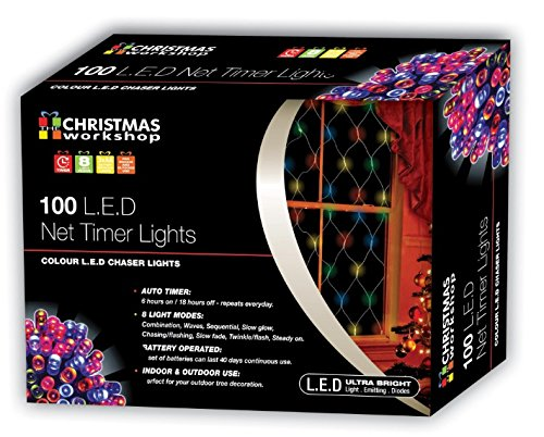 The Christmas Workshop LED-Netz-Lichterkette, batteriebetrieben, mit Timer