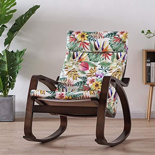Schaukelstuhl Haushalt Holzmaserung Einzel, abnehmbare waschbar Reißverschluss Pad Rest Lazy Lounge Chair (Farbe : I, größe : Nussbaum)
