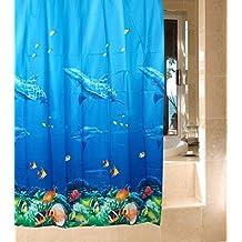 Cortina de ducha impermeable con imagen de delfín multicolor de estilo océano tropical, peces y corales con 12 ganchos