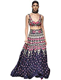 701e33e9943a79 Matindra Enterprise Womens Banglori Silk With Blouse Piece Lehenga Choli  MEPSN 78 Navy Blue Free Size