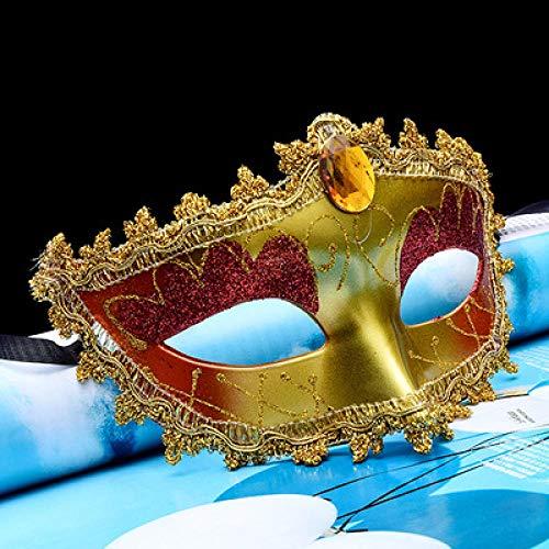 ZHOUHAOJIE Prom Mask_Halloween Make-Up Neue Spitzenmaske Perle Feder Rote Maske Halbes Gesicht Prinzessin Maske Augenmaske (Einfach Halbe-gesicht Halloween-make-up)