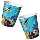 8-teiliges Becher-Set * OCEAN PARTY * für Kindergeburtstage oder Motto-Partys // Geburtstag Party Pappbecher Partybecher Cups Ozean Meer Clownfisch Fisch Korallen
