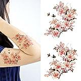 Oottati Arm Brust Temporäre Tattoo Schmetterling Blume Mandala Frau (Set mit 2)