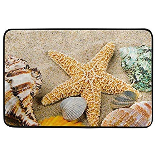 CehTureal Marine Frame with Colorful Sea Shells Non-Slip Doormat for Home Living Room Bathroom Kitchen Outdoor Outside Indoor Entrance Way Front Door 23.6 x 15.7 Inches