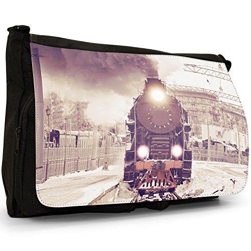 Treno a vapore, misura grande, colore: nero, Borsa Messenger-Borsa a tracolla in tela, borsa per Laptop, scuola Nero (Vintage Steam Train)