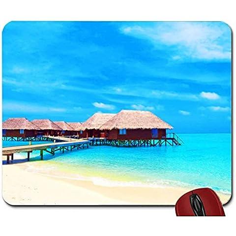 Maldives Beach Cottages mouse pad computer mousepad - Beach Cottage Accessori