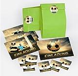12-er Set Einladungskarten, Umschläge, Tüten / grün, Aufkleber Kindergeburtstag Fußball Fussball Jungen Jungs Geburtstagseinladungen Einladungen Geburtstag Kinder Kartenset