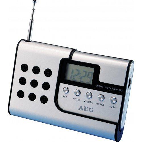 AEG DRR 4107 Digitales Reiseradio (LC-Display, UKW Scan-Tuner, Lautsprecher, In-Ear-Kopfhörer, Teleskopantenne, Gürtelclip) schwarz/blau