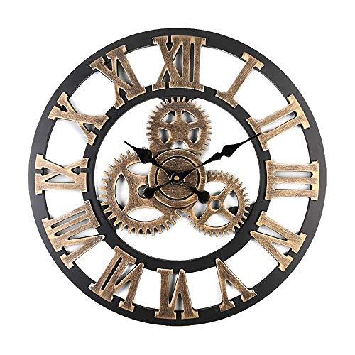 Mogzzi orologio da parete vintage grande, 30 cm, in legno, realizzato a mano, 3d, stile vintage europeo, silenzioso, senza rumore, per soggiorno, cucina, camera da letto (oro)