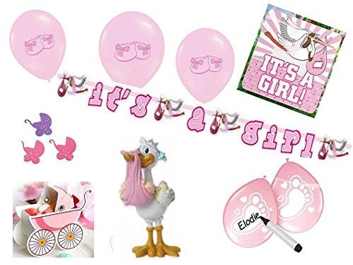Partydekoset Babyparty Baby Shower Mädchen rosa für 26teilig Pullerparty Baby Geburt Babyparty Komplettset Tischdeko Party Geschirr