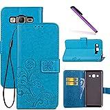 COTDINFOR Galaxy On5 Hülle für Mädchen Elegant Retro Premium PU Lederhülle Handy Tasche im Bookstyle mit Magnet Standfunktion Schutz Etui für Samsung Galaxy On5 Clover Blue SD