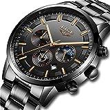 LIGE Relojes Hombre Impermeable Deporte Cuarzo Analógico Reloj Hombre Moda Casual Cronógrafo Negro Acero Inoxidable Reloj de Pulsera