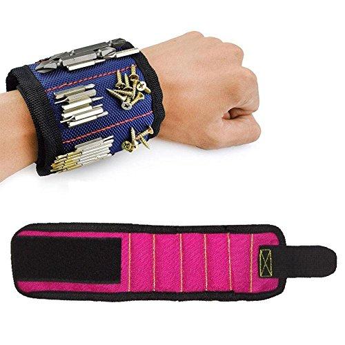 Aolvo 5-magnets Magnetisches Armband, Magnetverschluss Armband Werkzeug-Organizer für Nägel/Schrauben/Muttern/Bohrer Best Werkzeug Geschenk für DIY Handwerker Männer Frauen rose (Schrauben-organizer Muttern-und)