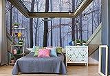 Nebligen Wald 3D-Dachfenster-Ansicht Vlies Fototapete Fotomural - Wandbild - Tapete - 416cm x 290cm / 4 Teilig - Gedrückt auf 130gsm Vlies - 10412VEXXXXL - Wald und Bäume