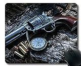 Yanteng Su Propio tapete Personalizado, Reloj de Bolsillo, Pistola de revólver y Vida, Base de Goma, Mouse Pads
