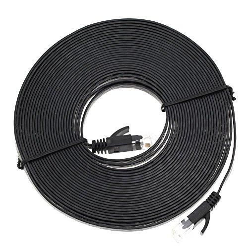 Asiproepr Netzwerkkabel Ethernet Kabel Flaches Cat6-Snagless-Netzwerk-Ethernet-Patchkabel Schwarz 25FT (25ft Ethernet-kabel Cat6)