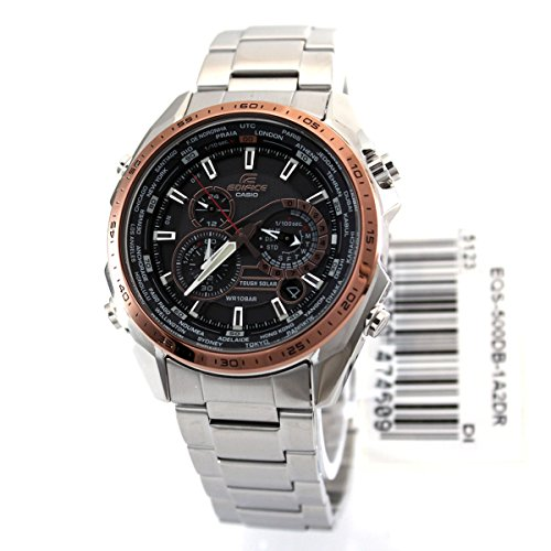Casio Men's Edifice EQS500DB-1A2 Silver Stainless-Steel Quartz Watch with Black Dial