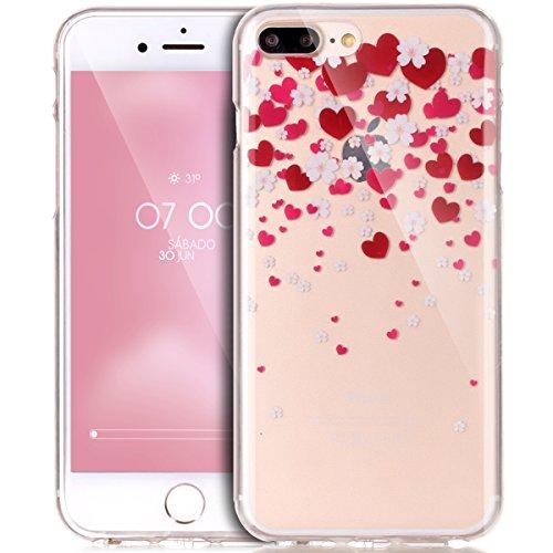 iPhone 8 Plus Hülle,iPhone 7 Plus Hülle,Handyhülle iPhone 8 Plus / 7 Plus Schutzhülle,ikasus® TPU Silikon Schutzhülle Case Hülle für iPhone 8 Plus / 7 Plus,Durchsichtig mit Bunte Gemalt Muster Handyhü Liebe Herz Kirschblüten