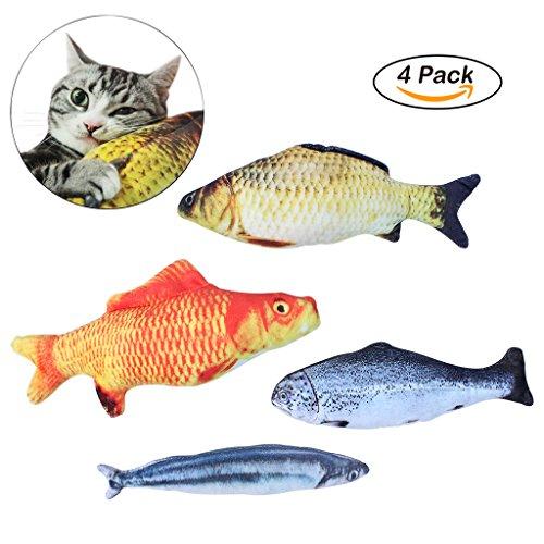 OWUDE Katzenminze Spielzeug, 4 Stück nachfüllbar Simulation Fisch Plüsch Katze interaktives Spielzeug für Haustier, Welpen, Kitty, Kätzchen, Frettchen, Kaninchen - Chew Bite Kick Supplies Kissen (Welpe Kissen)