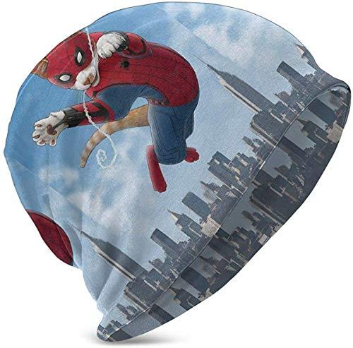 deyhfef Unisex Kinder Beanie Caps Spider-Cat lustige Katzen Slouchy Winter Sommer Stricken Schädel Hut Ski Hut Snapback für Mädchen Jungen schwarz -