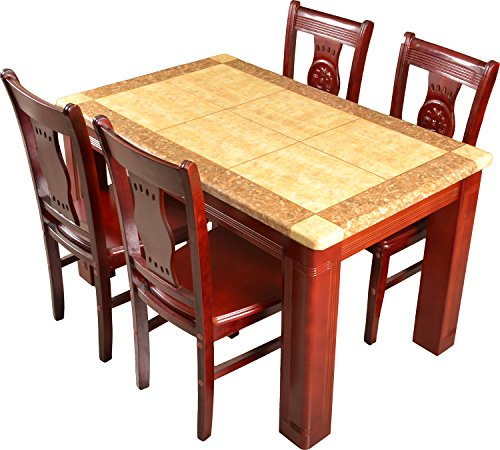 Wood Express Marble Five Seater Dining Table Set (Glossy Finish, Sandal and Brown)