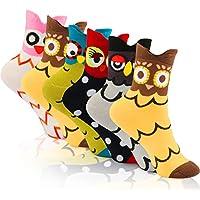 WOSTOO Calcetines de Mujer, 6 Pares Calcetines de Algodón para Mujeres Colores Mezclados Animales de Dibujos Patrón Calcetines Calcetines Calientes de Divertidos Ocasionales