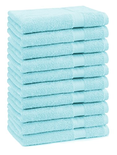 Betz Lot de 10 serviettes débarbouillettes lavettes taille 30x30 cm en 100% coton Premium color turquoise