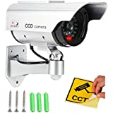 Bulfyss Realistic Looking Dummy Security CCTV Fake Bullet Camera With Flashing LED Light Indication, Silver