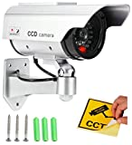 #1: Realistic Looking Dummy Security CCTV Fake Bullet Camera With Flashing LED Light Indication, Silver