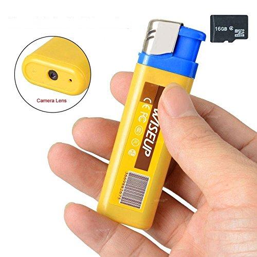 feuerzeug mit kamera WISEUP 16GB Spycam Feuerzeug Mini USB Stick Versteckte Videorecorder mit SD Aufzeichnung